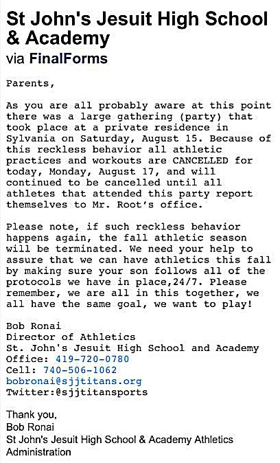 Email sent from St. Johns to parents, a similar email went out to St. Ursula and Sylvania Schools parents.